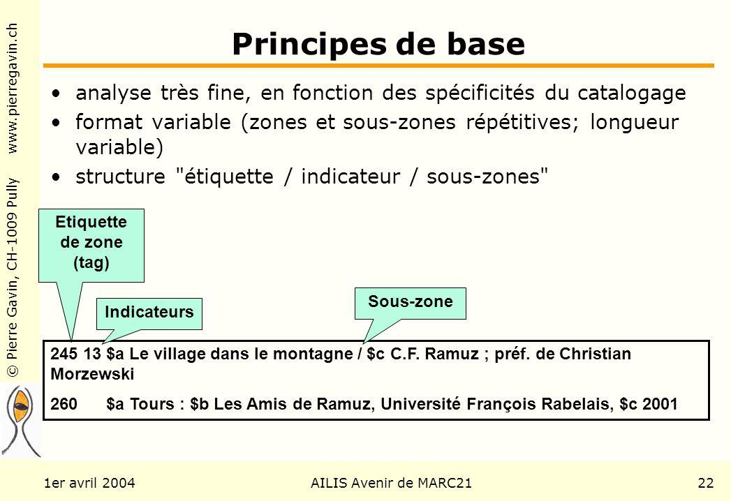 © Pierre Gavin, CH-1009 Pully www.pierregavin.ch 1er avril 2004AILIS Avenir de MARC2122 Principes de base analyse très fine, en fonction des spécifici