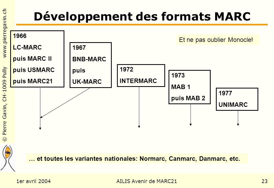 © Pierre Gavin, CH-1009 Pully www.pierregavin.ch 1er avril 2004AILIS Avenir de MARC2123 Développement des formats MARC 1966 LC-MARC puis MARC II puis USMARC puis MARC21 1967 BNB-MARC puis UK-MARC 1972 INTERMARC 1973 MAB 1 puis MAB 2 1977 UNIMARC … et toutes les variantes nationales: Normarc, Canmarc, Danmarc, etc.
