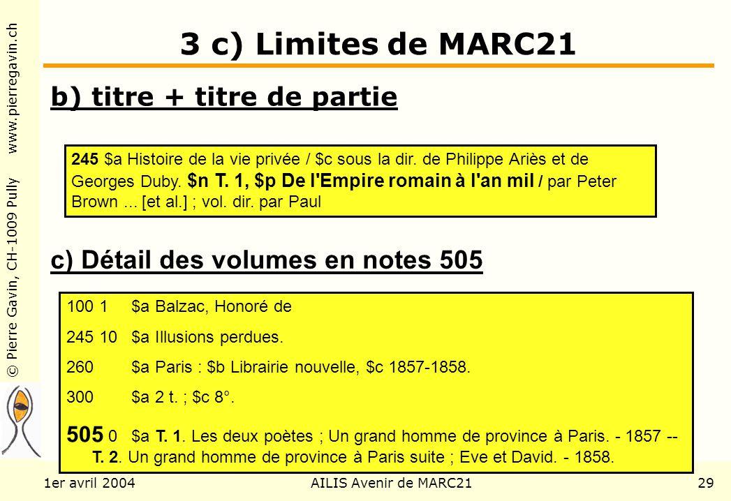 © Pierre Gavin, CH-1009 Pully www.pierregavin.ch 1er avril 2004AILIS Avenir de MARC2129 3 c) Limites de MARC21 b) titre + titre de partie 245 $a Histoire de la vie privée / $c sous la dir.