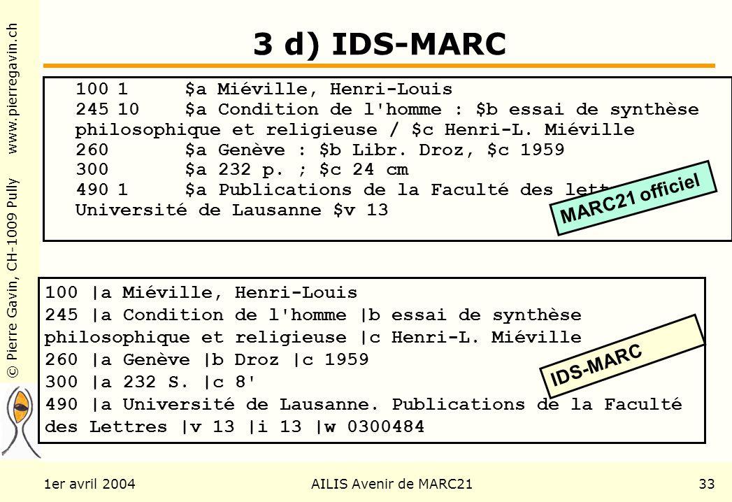 © Pierre Gavin, CH-1009 Pully www.pierregavin.ch 1er avril 2004AILIS Avenir de MARC2133 3 d) IDS-MARC 1001$a Miéville, Henri-Louis 24510$a Condition de l homme : $b essai de synthèse philosophique et religieuse / $c Henri-L.