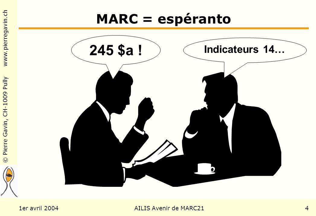 © Pierre Gavin, CH-1009 Pully www.pierregavin.ch 1er avril 2004AILIS Avenir de MARC214 MARC = espéranto 245 $a ! Indicateurs 14…