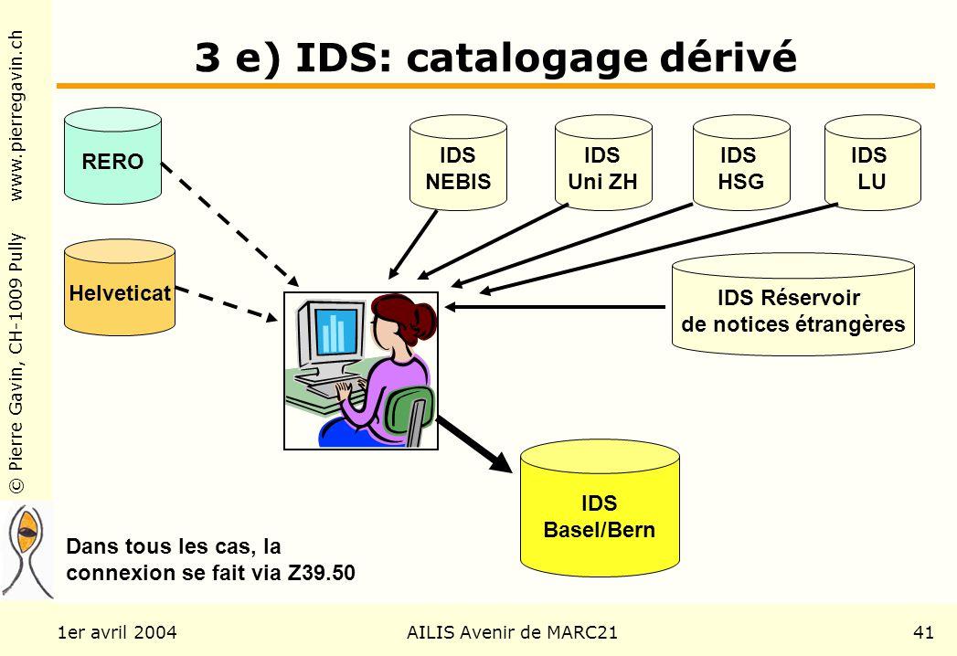 © Pierre Gavin, CH-1009 Pully www.pierregavin.ch 1er avril 2004AILIS Avenir de MARC2141 3 e) IDS: catalogage dérivé IDS Basel/Bern RERO Helveticat IDS
