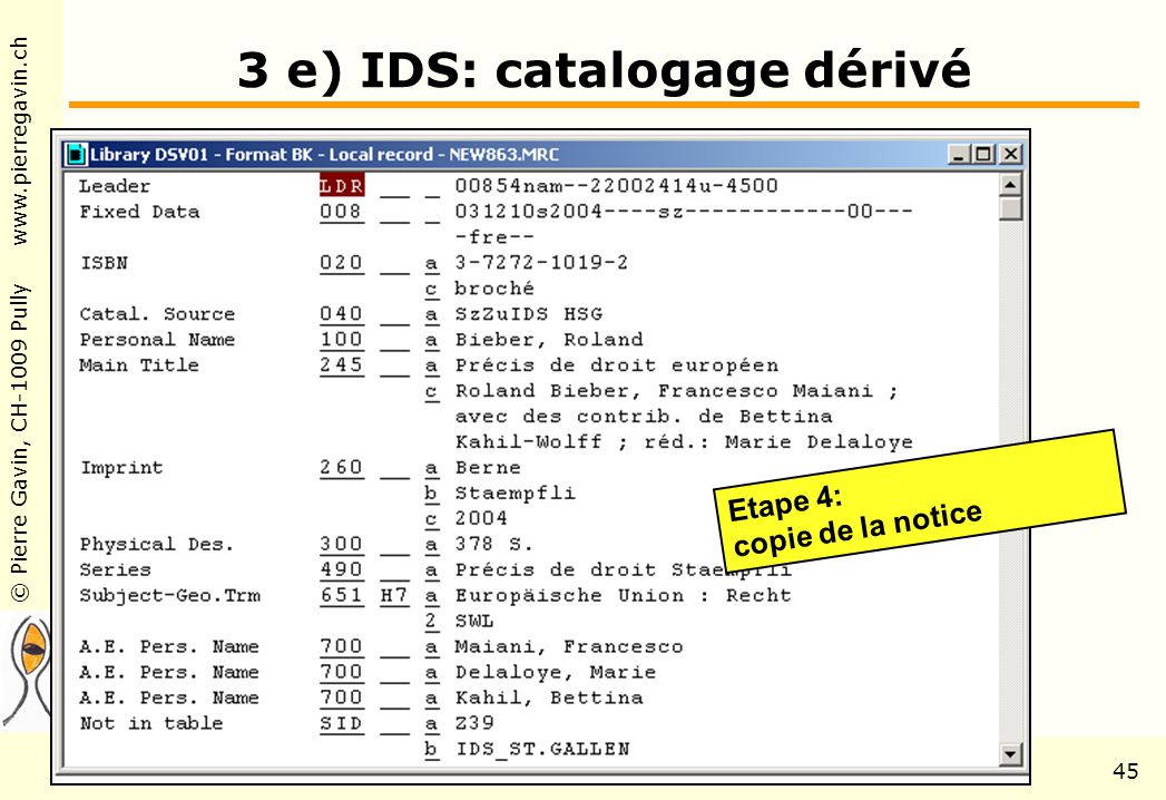 © Pierre Gavin, CH-1009 Pully www.pierregavin.ch 1er avril 2004AILIS Avenir de MARC2145 3 e) IDS: catalogage dérivé Etape 4: copie de la notice