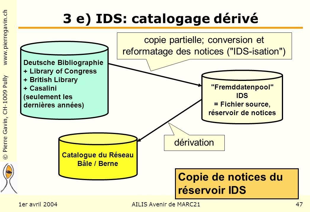 © Pierre Gavin, CH-1009 Pully www.pierregavin.ch 1er avril 2004AILIS Avenir de MARC2147 3 e) IDS: catalogage dérivé Deutsche Bibliographie + Library o
