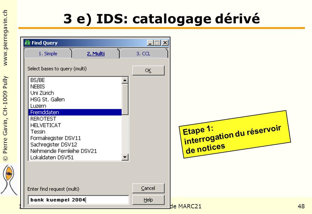 © Pierre Gavin, CH-1009 Pully www.pierregavin.ch 1er avril 2004AILIS Avenir de MARC2148 3 e) IDS: catalogage dérivé Etape 1: interrogation du réservoir de notices