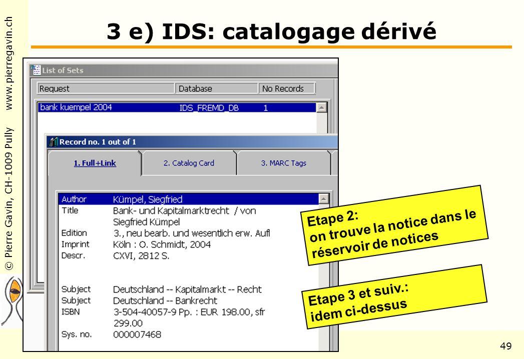 © Pierre Gavin, CH-1009 Pully www.pierregavin.ch 1er avril 2004AILIS Avenir de MARC2149 3 e) IDS: catalogage dérivé Etape 2: on trouve la notice dans le réservoir de notices Etape 3 et suiv.: idem ci-dessus
