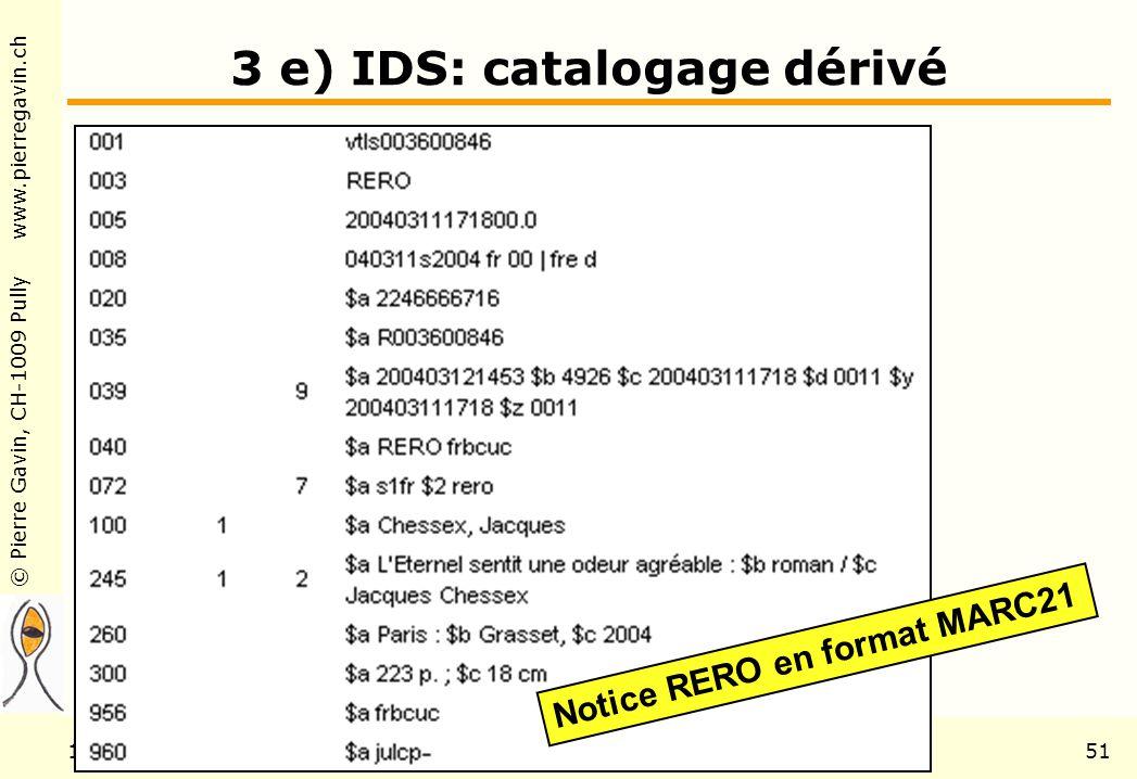 © Pierre Gavin, CH-1009 Pully www.pierregavin.ch 1er avril 2004AILIS Avenir de MARC2151 3 e) IDS: catalogage dérivé Notice RERO en format MARC21