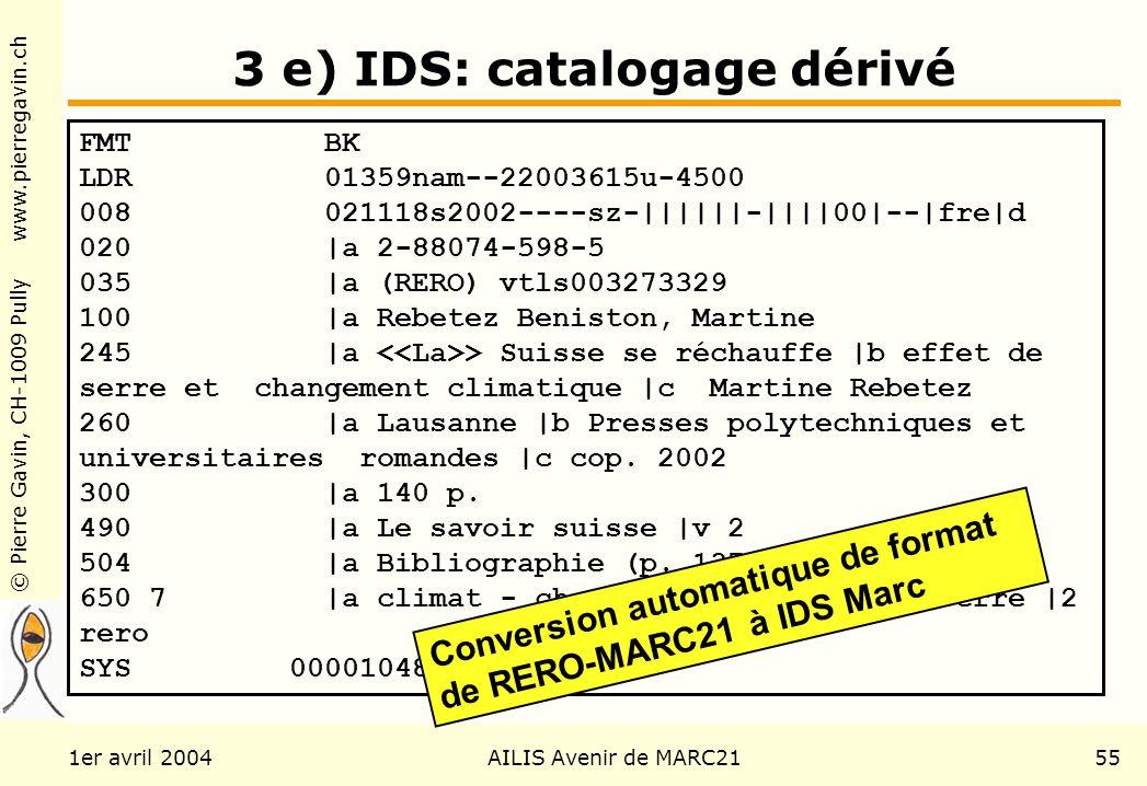 © Pierre Gavin, CH-1009 Pully www.pierregavin.ch 1er avril 2004AILIS Avenir de MARC2155 3 e) IDS: catalogage dérivé FMT BK LDR 01359nam--22003615u-450