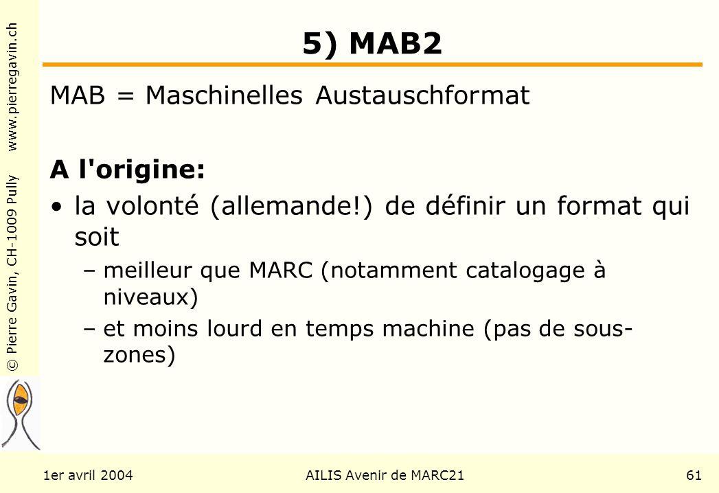 © Pierre Gavin, CH-1009 Pully www.pierregavin.ch 1er avril 2004AILIS Avenir de MARC2161 5) MAB2 MAB = Maschinelles Austauschformat A l origine: la volonté (allemande!) de définir un format qui soit –meilleur que MARC (notamment catalogage à niveaux) –et moins lourd en temps machine (pas de sous- zones)