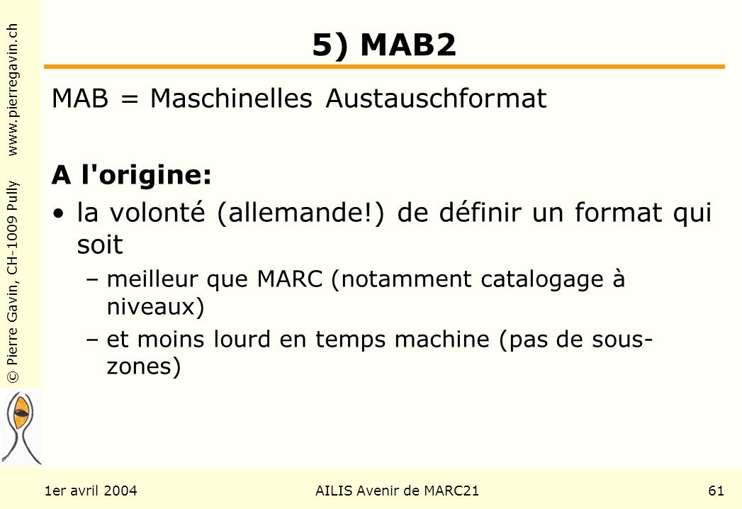 © Pierre Gavin, CH-1009 Pully www.pierregavin.ch 1er avril 2004AILIS Avenir de MARC2161 5) MAB2 MAB = Maschinelles Austauschformat A l'origine: la vol