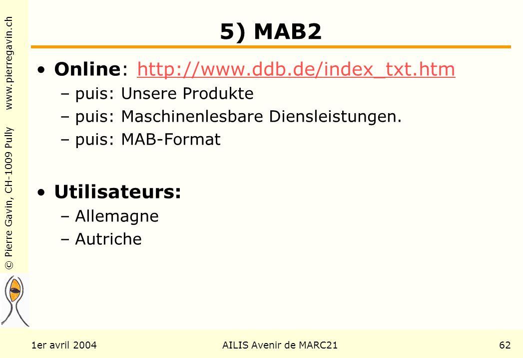 © Pierre Gavin, CH-1009 Pully www.pierregavin.ch 1er avril 2004AILIS Avenir de MARC2162 5) MAB2 Online: http://www.ddb.de/index_txt.htmhttp://www.ddb.de/index_txt.htm –puis: Unsere Produkte –puis: Maschinenlesbare Diensleistungen.