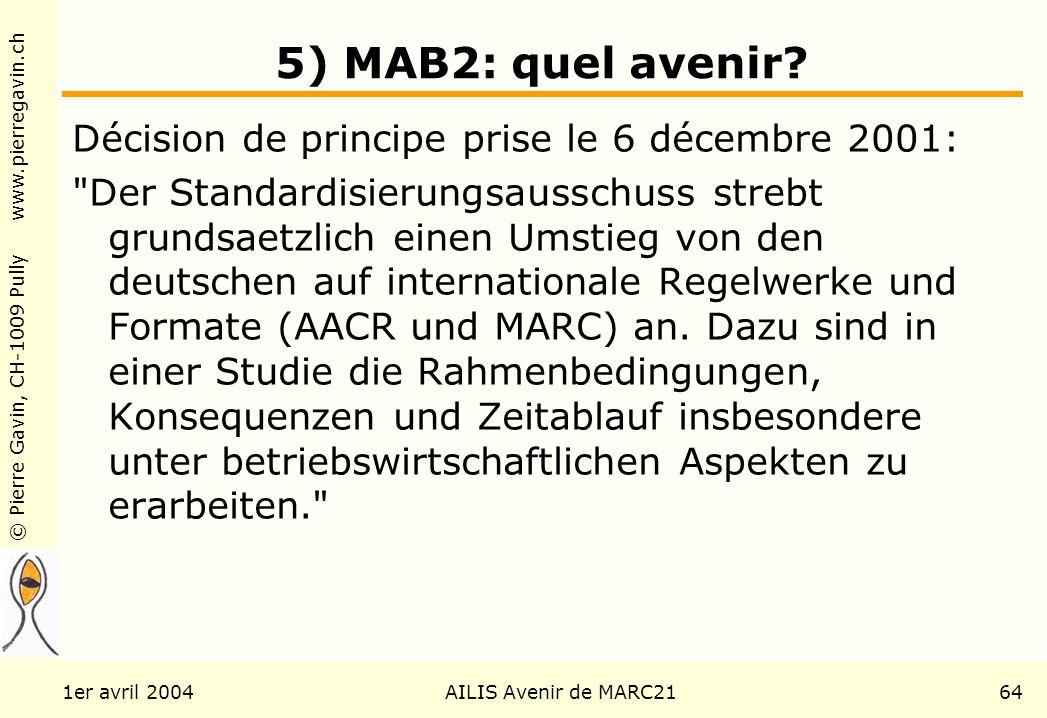 © Pierre Gavin, CH-1009 Pully www.pierregavin.ch 1er avril 2004AILIS Avenir de MARC2164 5) MAB2: quel avenir? Décision de principe prise le 6 décembre