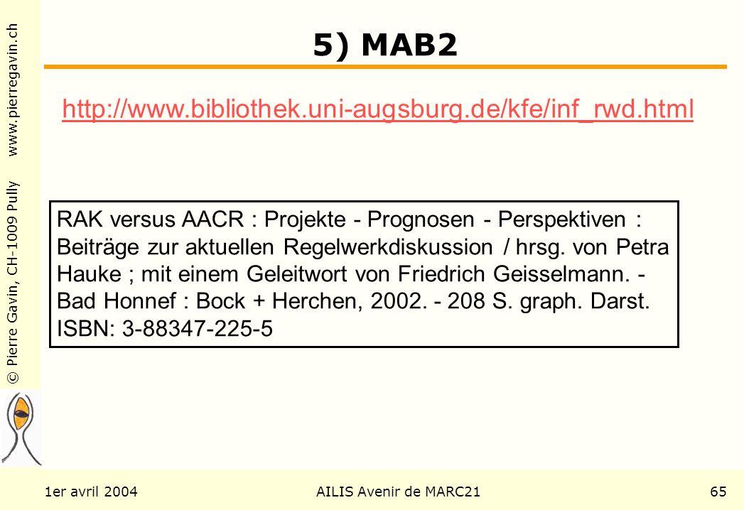 © Pierre Gavin, CH-1009 Pully www.pierregavin.ch 1er avril 2004AILIS Avenir de MARC2165 5) MAB2 RAK versus AACR : Projekte - Prognosen - Perspektiven : Beiträge zur aktuellen Regelwerkdiskussion / hrsg.