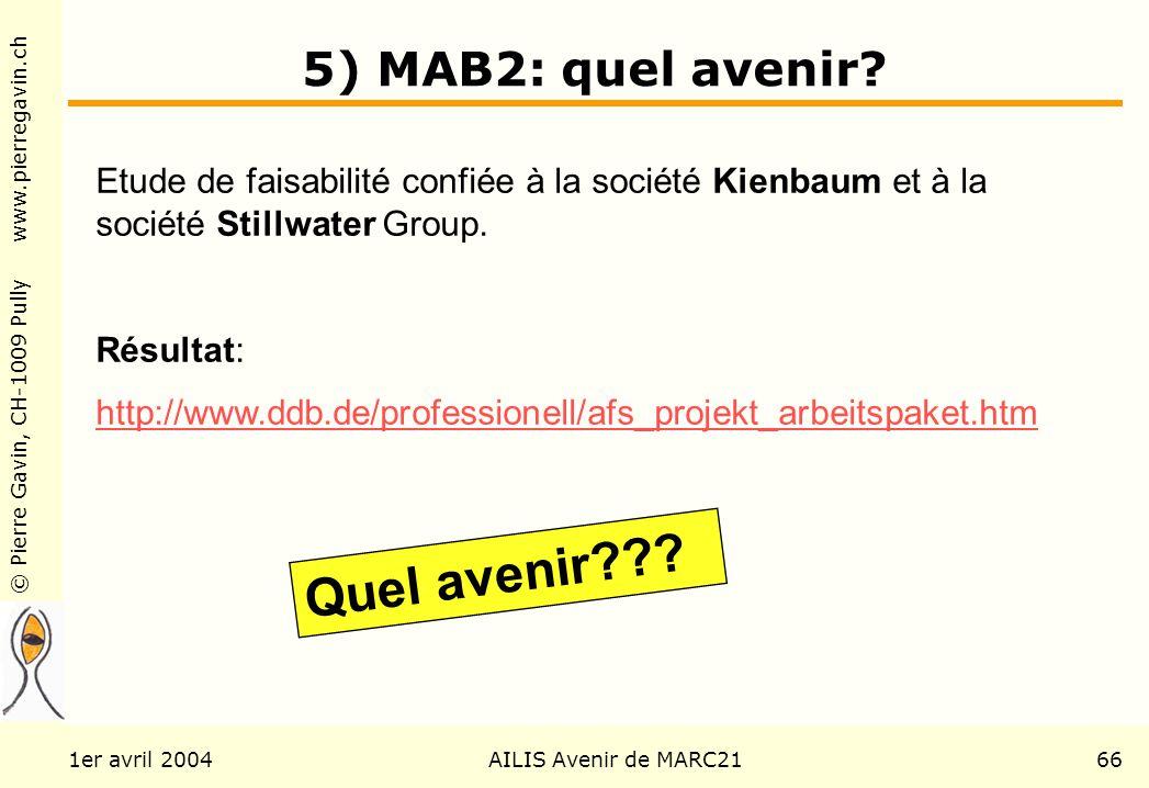 © Pierre Gavin, CH-1009 Pully www.pierregavin.ch 1er avril 2004AILIS Avenir de MARC2166 5) MAB2: quel avenir? Etude de faisabilité confiée à la sociét