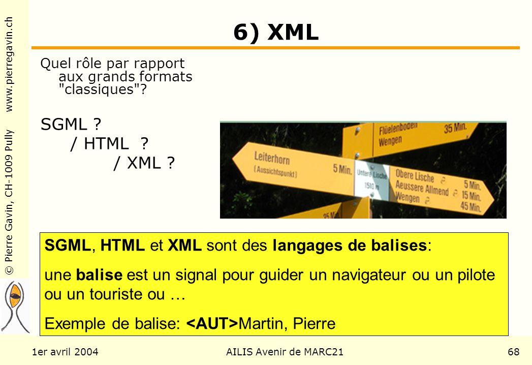 © Pierre Gavin, CH-1009 Pully www.pierregavin.ch 1er avril 2004AILIS Avenir de MARC2168 6) XML Quel rôle par rapport aux grands formats classiques .