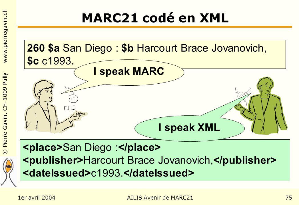 © Pierre Gavin, CH-1009 Pully www.pierregavin.ch 1er avril 2004AILIS Avenir de MARC2175 MARC21 codé en XML San Diego : Harcourt Brace Jovanovich, c1993.