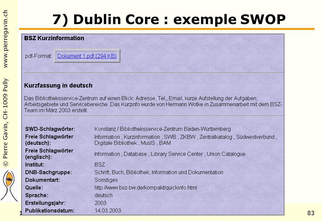 © Pierre Gavin, CH-1009 Pully www.pierregavin.ch 1er avril 2004AILIS Avenir de MARC2183 7) Dublin Core : exemple SWOP