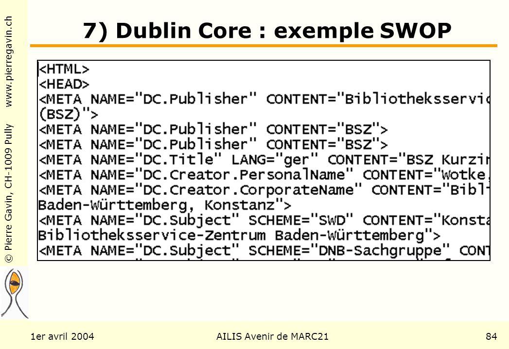 © Pierre Gavin, CH-1009 Pully www.pierregavin.ch 1er avril 2004AILIS Avenir de MARC2184 7) Dublin Core : exemple SWOP