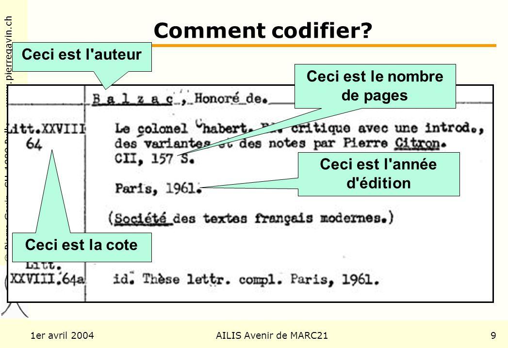 © Pierre Gavin, CH-1009 Pully www.pierregavin.ch 1er avril 2004AILIS Avenir de MARC219 Comment codifier? Ceci est le nombre de pages Ceci est l'année