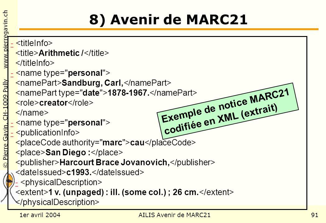 © Pierre Gavin, CH-1009 Pully www.pierregavin.ch 1er avril 2004AILIS Avenir de MARC2191 8) Avenir de MARC21 - Arithmetic / - Sandburg, Carl, 1878-1967