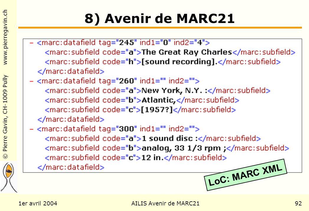 © Pierre Gavin, CH-1009 Pully www.pierregavin.ch 1er avril 2004AILIS Avenir de MARC2192 8) Avenir de MARC21 LoC: MARC XML