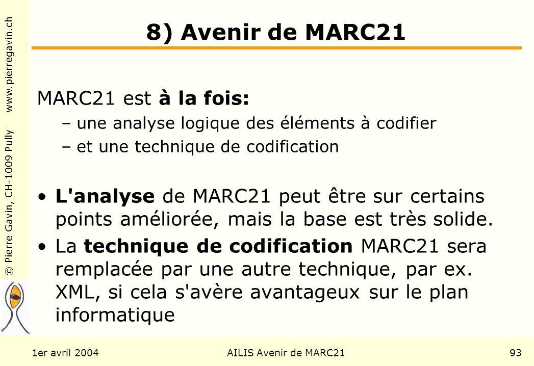 © Pierre Gavin, CH-1009 Pully www.pierregavin.ch 1er avril 2004AILIS Avenir de MARC2193 8) Avenir de MARC21 MARC21 est à la fois: –une analyse logique des éléments à codifier –et une technique de codification L analyse de MARC21 peut être sur certains points améliorée, mais la base est très solide.