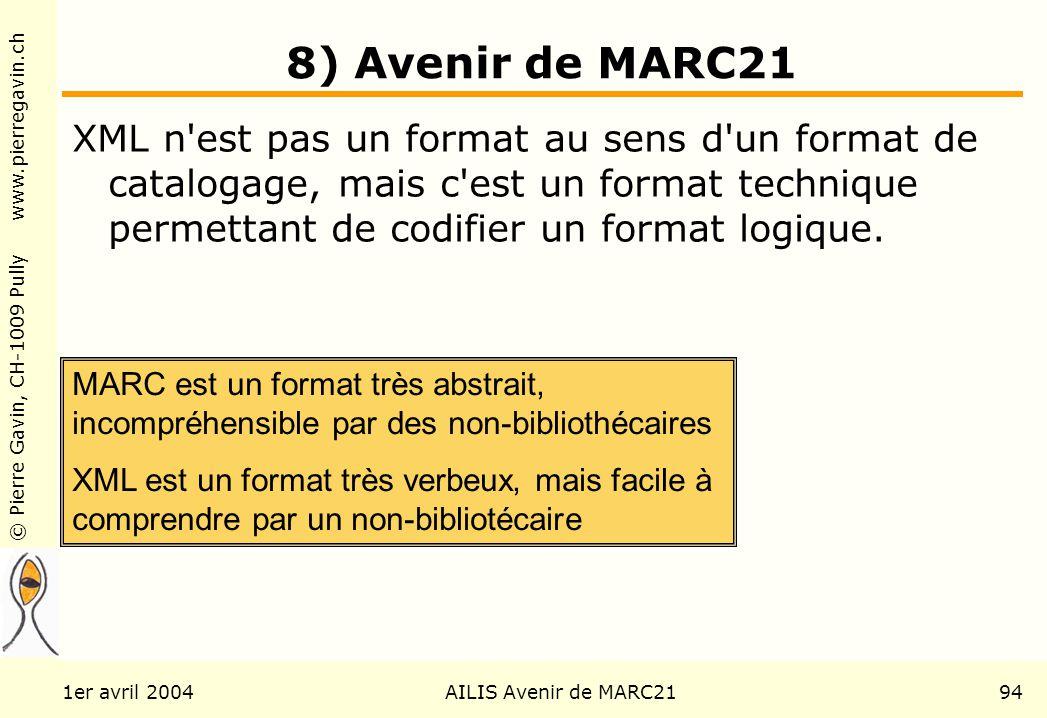 © Pierre Gavin, CH-1009 Pully www.pierregavin.ch 1er avril 2004AILIS Avenir de MARC2194 8) Avenir de MARC21 XML n est pas un format au sens d un format de catalogage, mais c est un format technique permettant de codifier un format logique.