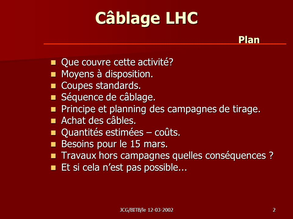 JCG/BITB/le 12-03-20022 Câblage LHC Plan Que couvre cette activité.