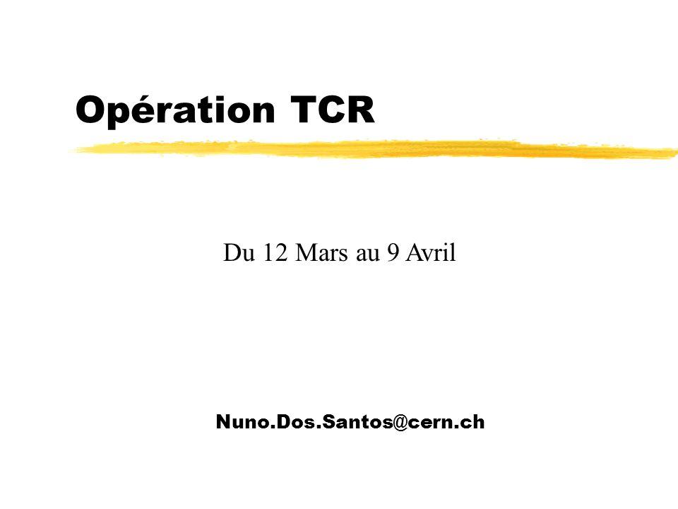 Opération TCR Nuno.Dos.Santos@cern.ch Du 12 Mars au 9 Avril