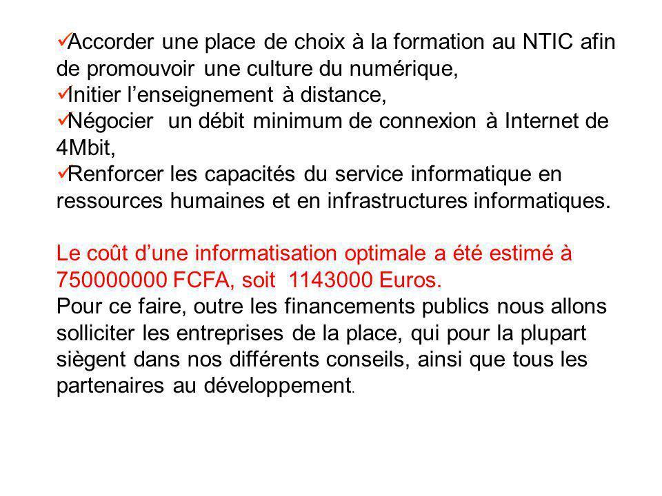 CONCLUSION Ces efforts pour le développement des NTIC auront un impact durable sur la vie de linstitution universitaire.