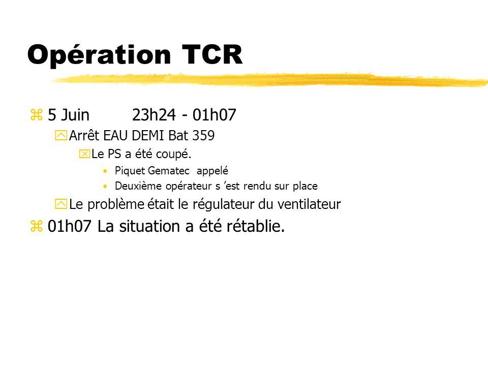 Opération TCR z5 Juin 23h24 - 01h07 yArrêt EAU DEMI Bat 359 xLe PS a été coupé.