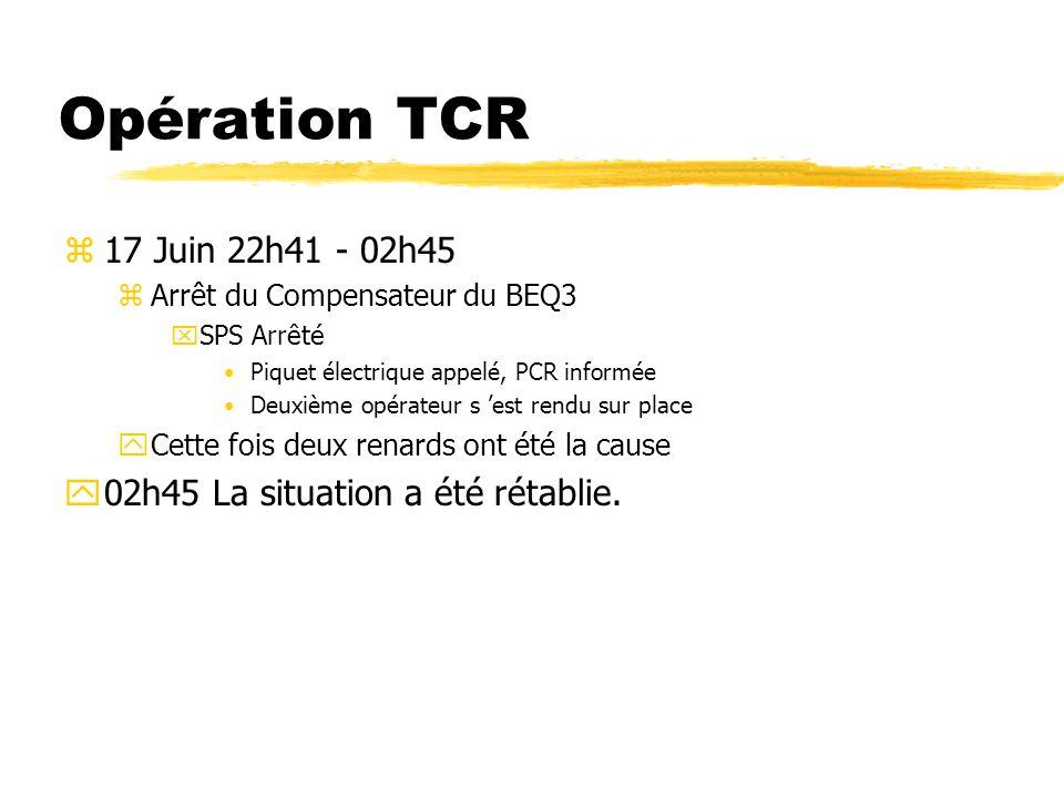 Opération TCR z17 Juin 22h41 - 02h45 zArrêt du Compensateur du BEQ3 xSPS Arrêté Piquet électrique appelé, PCR informée Deuxième opérateur s est rendu sur place yCette fois deux renards ont été la cause y02h45 La situation a été rétablie.