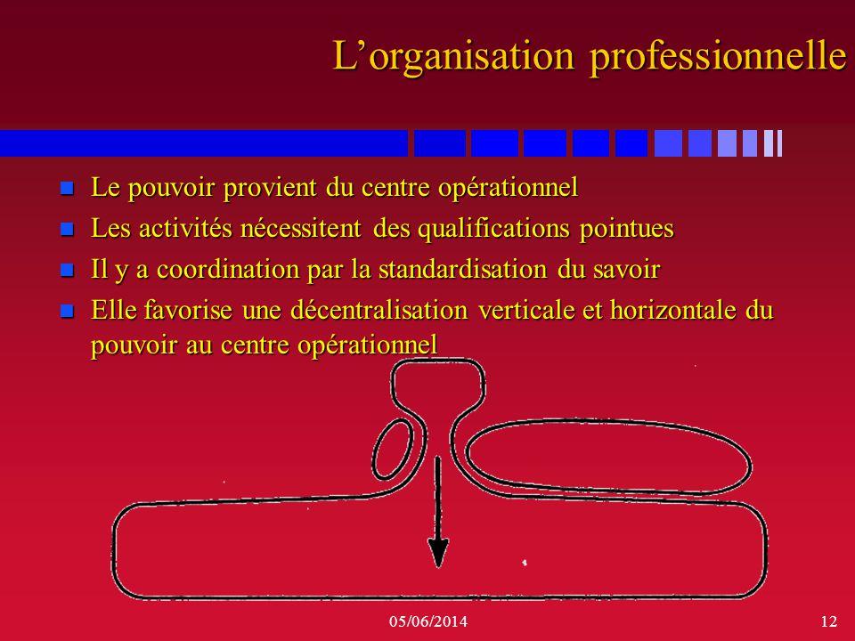 05/06/201412 n Le pouvoir provient du centre opérationnel n Les activités nécessitent des qualifications pointues n Il y a coordination par la standar