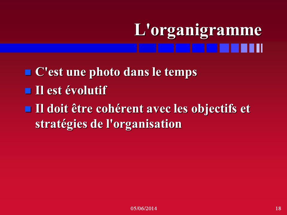 05/06/201418 L'organigramme n C'est une photo dans le temps n Il est évolutif n Il doit être cohérent avec les objectifs et stratégies de l'organisati
