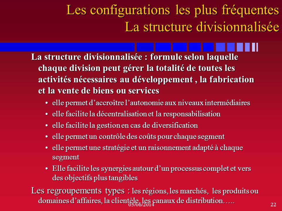 05/06/201422 La structure divisionnalisée : formule selon laquelle chaque division peut gérer la totalité de toutes les activités nécessaires au dével