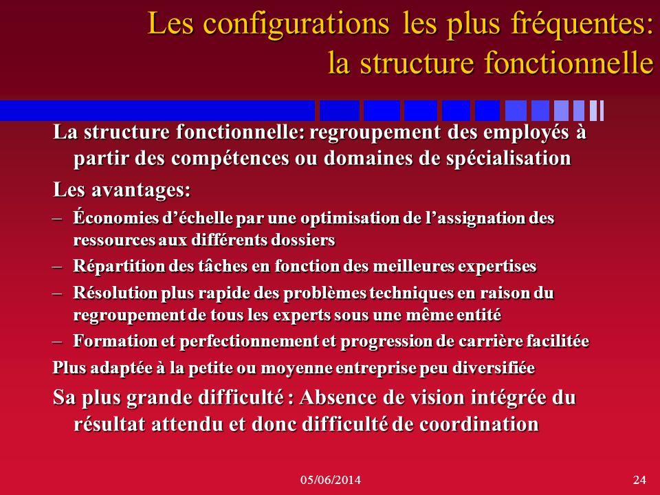 05/06/201424 La structure fonctionnelle: regroupement des employés à partir des compétences ou domaines de spécialisation Les avantages: –Économies dé