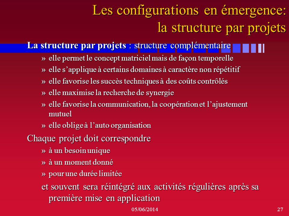 05/06/201427 La structure par projets : structure complémentaire »elle permet le concept matriciel mais de façon temporelle »elle sapplique à certains