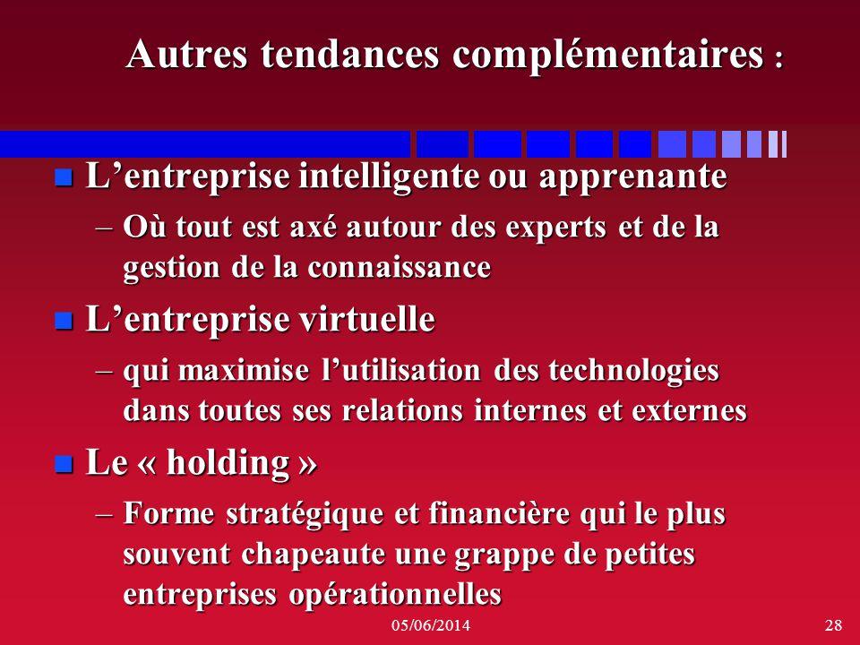05/06/201428 Autres tendances complémentaires : n Lentreprise intelligente ou apprenante –Où tout est axé autour des experts et de la gestion de la co