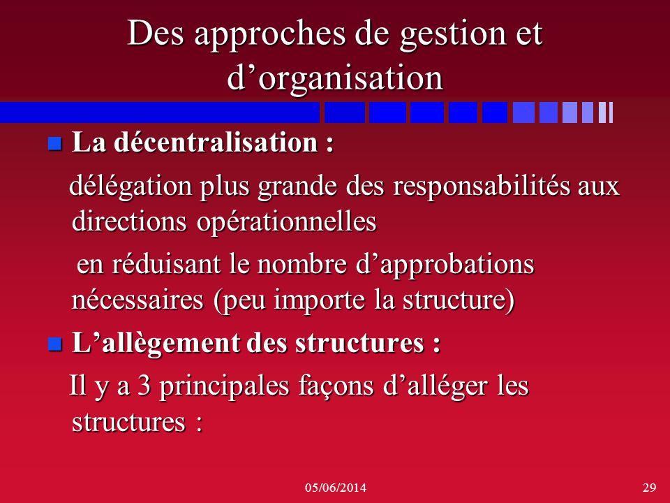 05/06/201429 Des approches de gestion et dorganisation n La décentralisation : délégation plus grande des responsabilités aux directions opérationnell