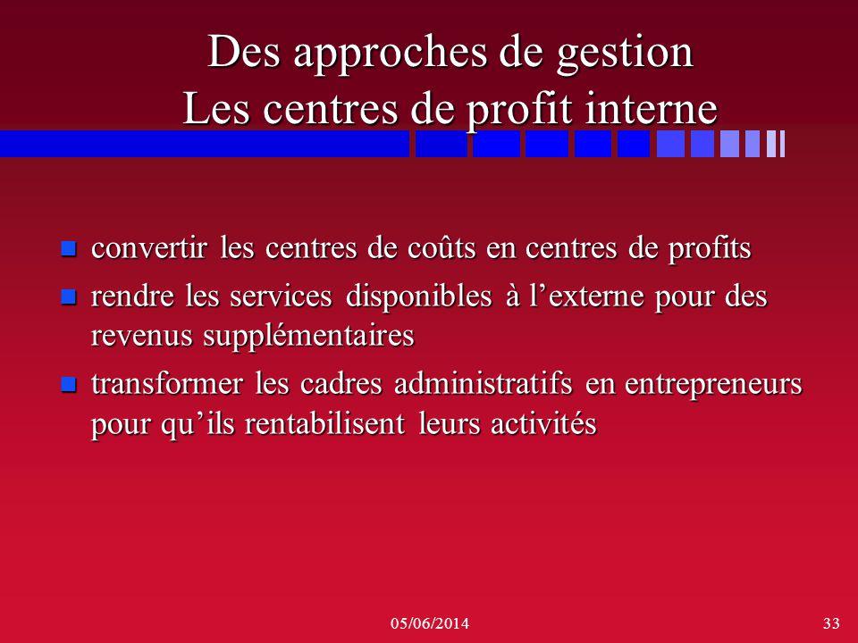 05/06/201433 Des approches de gestion Les centres de profit interne n convertir les centres de coûts en centres de profits n rendre les services dispo