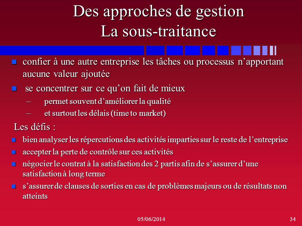 05/06/201434 Des approches de gestion La sous-traitance n confier à une autre entreprise les tâches ou processus napportant aucune valeur ajoutée n se