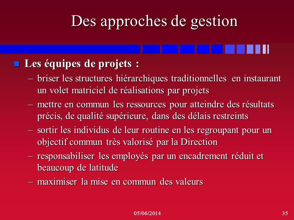05/06/201435 Des approches de gestion n Les équipes de projets : –briser les structures hiérarchiques traditionnelles en instaurant un volet matriciel
