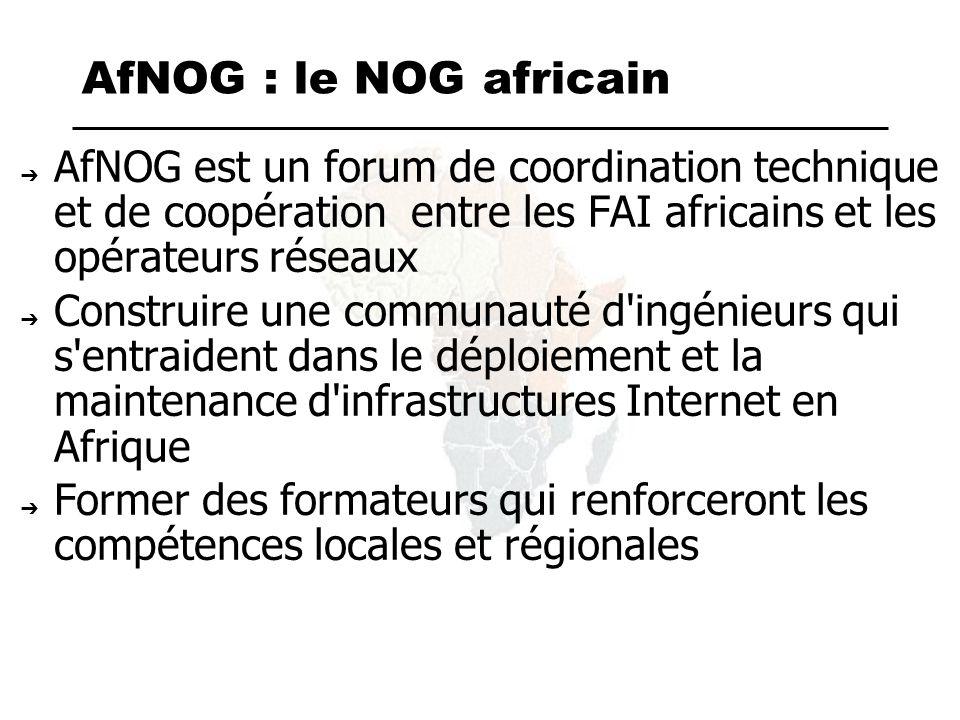 AfNOG : le NOG africain Crée en 1999, Première rencontre à CapeTown, 2000 Depuis cinq réunions annuelles : – Accra,Lomé,Kampala,Dakar,Maputo – Nairobi (2006) Des sessions techniques (tutorial) Des ateliers de formation sur les traces du modèle NTW d ISOC Scalable Internet services Scalable internet Infrastructure