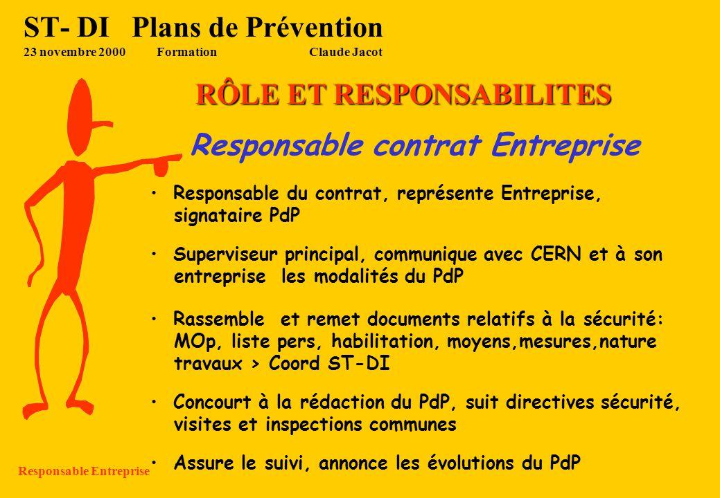 ST- DI Plans de Prévention 23 novembre 2000Formation Claude Jacot RÔLE ET RESPONSABILITES Responsable tech ST du contrat Responsable du contrat, repré