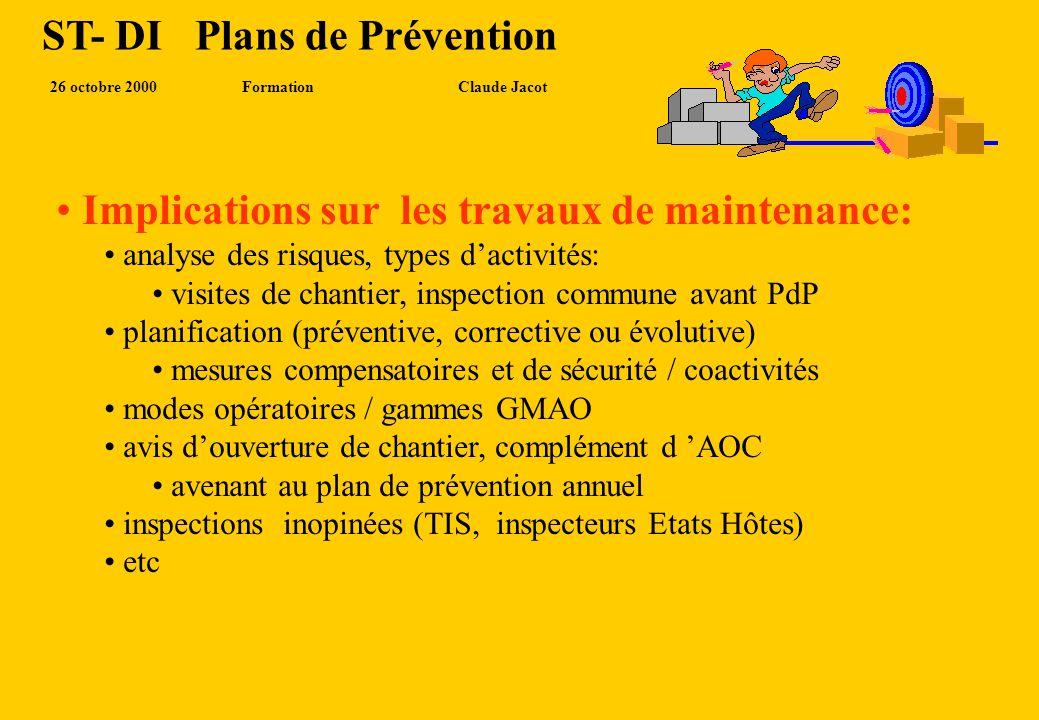 ST- DI Plans de Prévention 23 novembre 2000Formation Claude Jacot RÔLE ET RESPONSABILITES Représente ST, veille à l application du contrat et PdP Supe