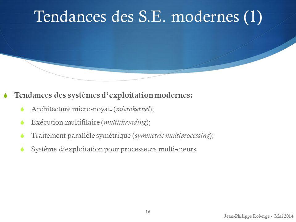 16 Tendances des S.E. modernes (1) Tendances des systèmes dexploitation modernes: Architecture micro-noyau ( microkernel ); Exécution multifilaire ( m