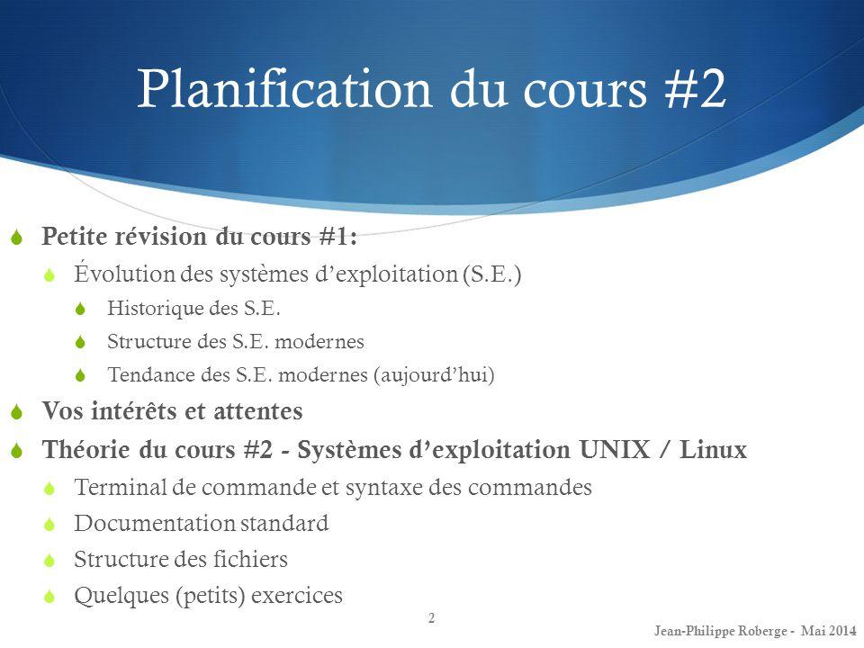 Planification du cours #2 Petite révision du cours #1: Évolution des systèmes dexploitation (S.E.) Historique des S.E.