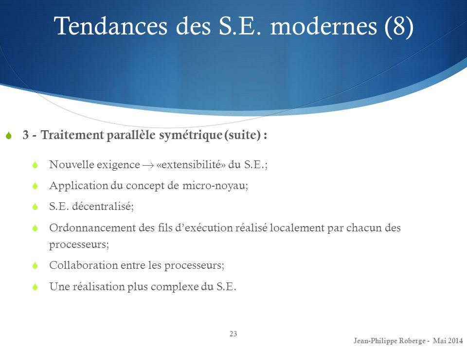 23 3 - Traitement parallèle symétrique (suite) : Nouvelle exigence «extensibilité» du S.E.; Application du concept de micro-noyau; S.E. décentralisé;