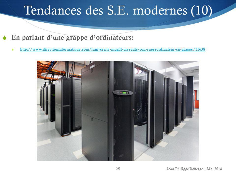 Jean-Philippe Roberge - Mai 201425 En parlant dune grappe dordinateurs: http://www.directioninformatique.com/luniversite-mcgill-presente-son-superordinateur-en-grappe/11638 Tendances des S.E.