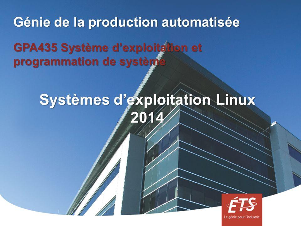 Génie de la production automatisée GPA435 Système dexploitation et programmation de système Systèmes dexploitation Linux 2014